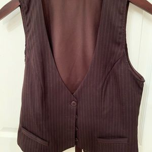 JOE BENBASSET dark brown pin stripe vest silk back